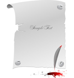Blank page feather and blots vector