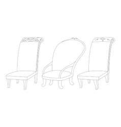 Chairs set contour vector