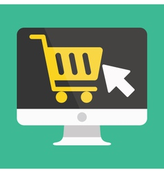 Computer display buy online icon ecommerce vector