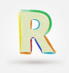 Alphabet letter r watercolor paint design element vector