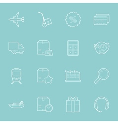 Logistics thin lines icons set vector