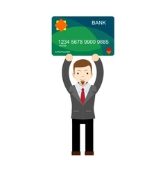 Office worker holding a bank card vector