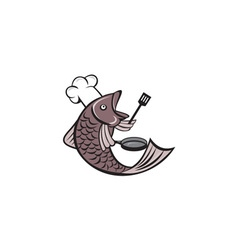 Fish chef cook holding spatula frying pan cartoon vector