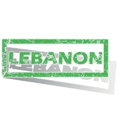 Green outlined lebanon stamp vector