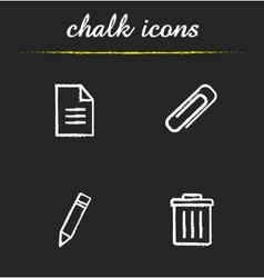 File manager chalk icons set vector