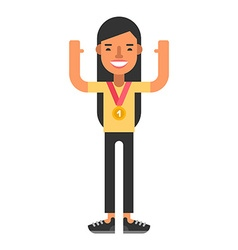 Happy woman winner with gold medal coloured flat vector