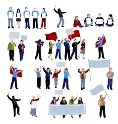 Demonstration protest people icons set vector