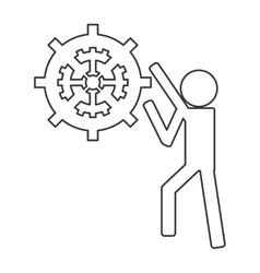 Person with gears icon vector