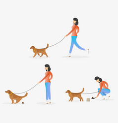 A woman cleaning after dog vector
