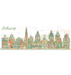 Abstract antwerp skyline with color buildings vector