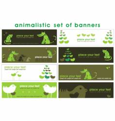 Animalistic set of stylish banners vector