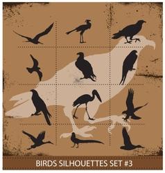Birds silhouettes symbols black color vector image