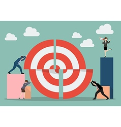 Business teamwork pushing a pieces of big target vector image vector image