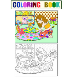 Children coloring girl in childrens room vector