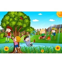 Children playing and camping out in the park vector