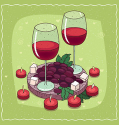 Composition with red wine and grapes and cheese vector