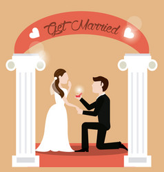 couple get married - man proposing woman vector image vector image