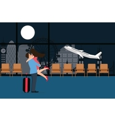 couple meet at airport landing take off departure vector image