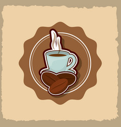 Delicious and hot coffee drink vector