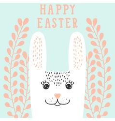 Happy bunny face rabbit head in floral wreath vector