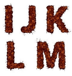 Ijklm english alphabet letters made of coffee vector