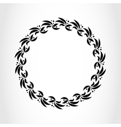 Laurel wreath circle tattoo icon black stylized vector
