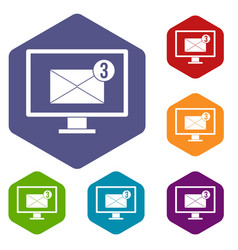 monitor screen with email sign icons set hexagon vector image vector image