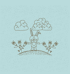 monochrome hand drawn landscape of bunny in hill vector image vector image