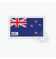 New zealand flag old postage stamp vector