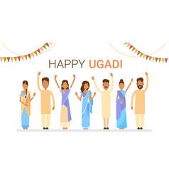 people group celebrate happy ugadi and gudi padwa vector image vector image