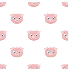 pig muzzle icon in cartoon style isolated on white vector image