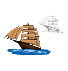 Sailing ship among blue ocean waves vector