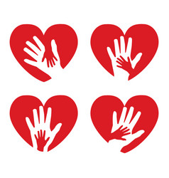 set of icons with hands and hearts vector image