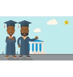 Two black men wearing graduation cap vector