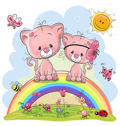 two pink kittens are sitting on the rainbow vector image vector image