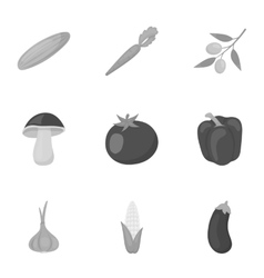 Vegetables set icons in monochrome style Big vector image vector image