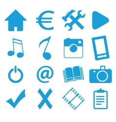 Webdesign blue icons set vector