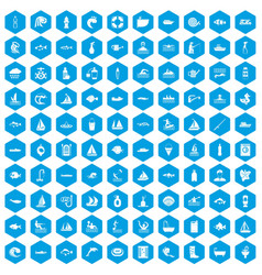 100 water icons set blue vector