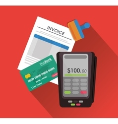 Dataphone credit card document paymet financial vector