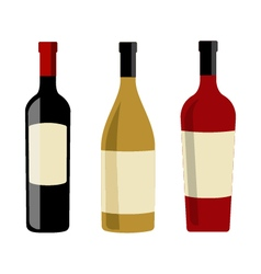 Wine bottles and labels design elements template vector