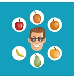 Person surrounded assorted healthy food icons vector