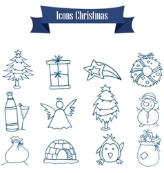 Object of christmas icons art vector