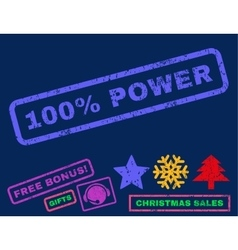 100 percent power rubber stamp vector