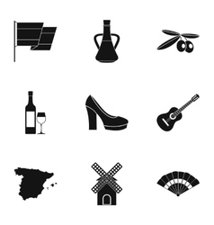 Tourism in spain icons set simple style vector