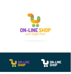 On line shop logo set consisting of shopping cart vector