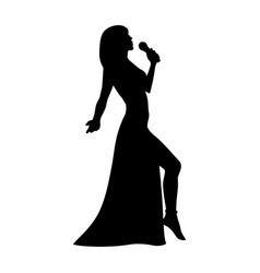 Silhouette girl singing with a microphone vector