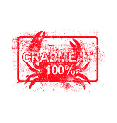 Meatcrab 100 per cent - red rubber grungy stamp vector