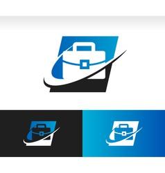 Briefcase Swoosh Logo Icon vector image