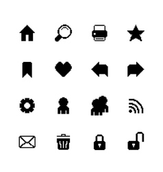 Black pixel icons set for navigation vector