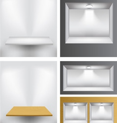 3d empty shelves vector image
